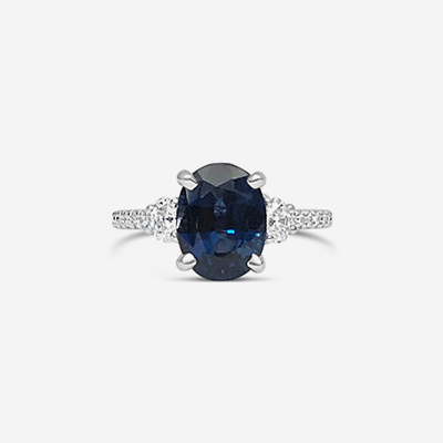 14kt Oval Sapphire and Diamond shank engagement ring