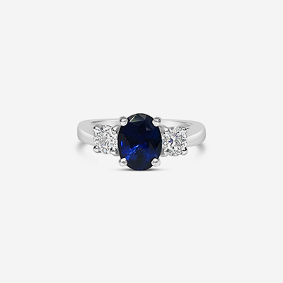 14kt oval Sapphire and diamond engagement ring