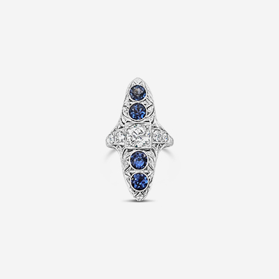 14kt sapphire and diamond antique ring