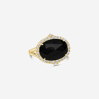 18kt black onyx and diamond ring