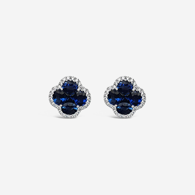 14kt Sapphire and diamond halo stud earrings