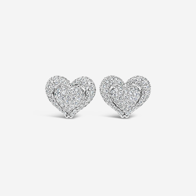 14kt diamond heart earrings