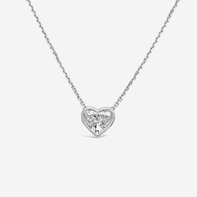 14kt diamond bezel heart shape pendant