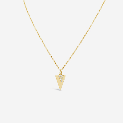 14kt triangle diamond pendant
