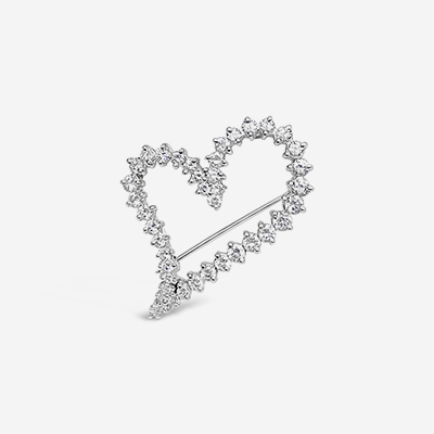 18kt open heart pin/pendant
