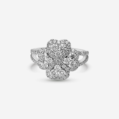 18kt four leaf clover diamond ring