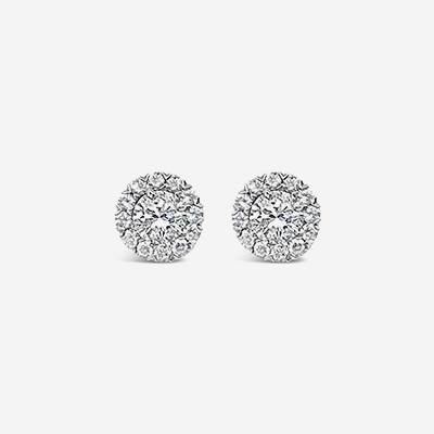 14kt diamond halo stud earrings