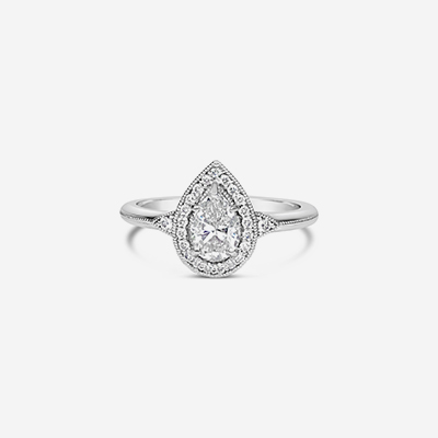14kt pear shape diamond engagement ring