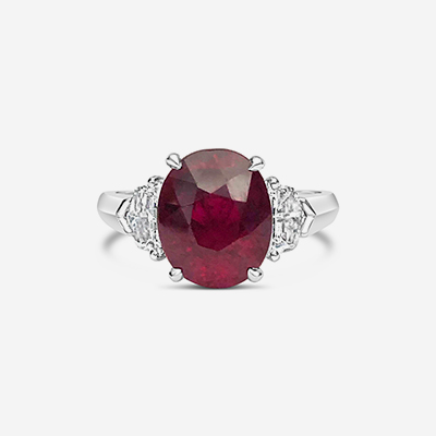 Platinum oval ruby and diamond ring