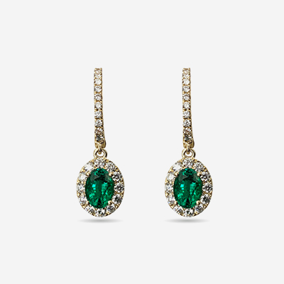 14kt emerald and diamond earrings