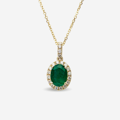 14kt oval emerald and diamond pendant
