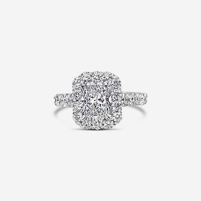 18kt princess cut diamond halo ring