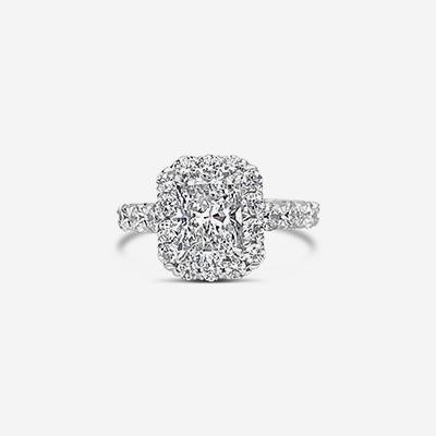 18kt princess cut diamond halo ring