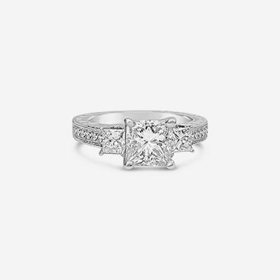 Platinum princess cut engagement ring