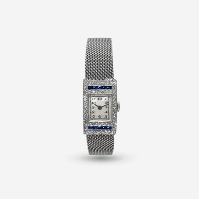 Platinum Diamond and Sapphire vintage ladies watch