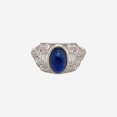 Platinum Art Deco Style Sapphire Engagement Ring
