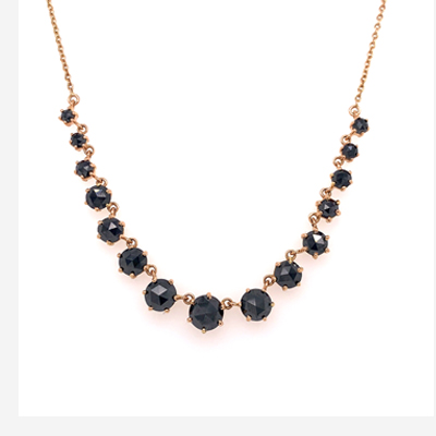 18kt rose gold and black diamond necklace