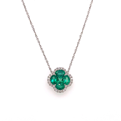 18kt emerald and diamond necklace