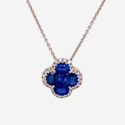 18kt clover diamond and sapphire pendant