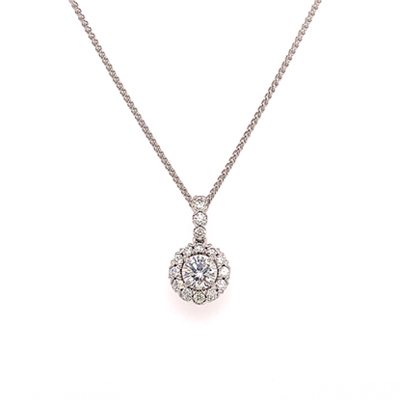 GIA certified Diamond Halo Pendant