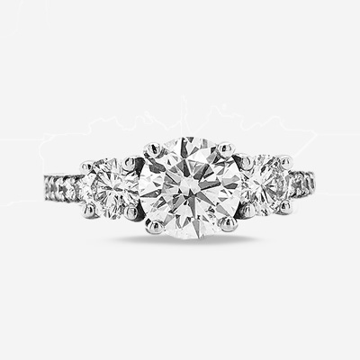 14KT Three-Stone Diamond Engagement Ring