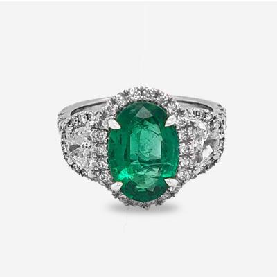 18KT Oval Emerald Diamond Halo Engagement Ring