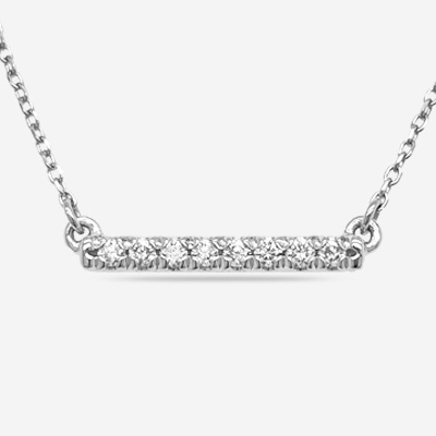 14KT Short Diamond Bar Necklace