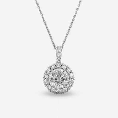 18KT ROUND HALO DIAMOND PENDANT