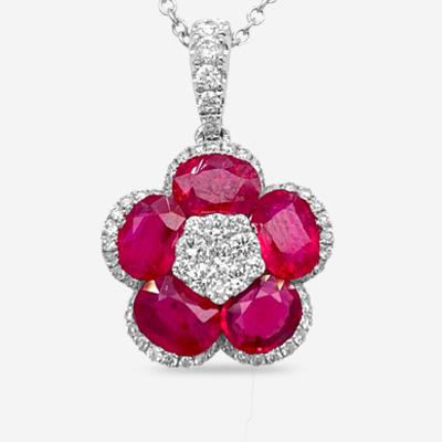 14KT Ruby and Diamond Flower Pendant