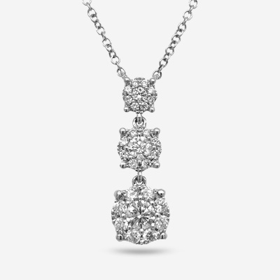 14KT Three Diamond Cluster Drop Halo Pendant