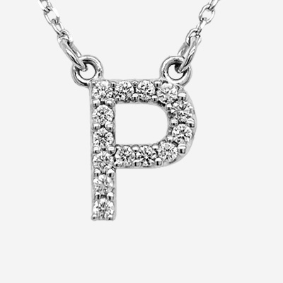 14KT Diamond P Initial Pendant