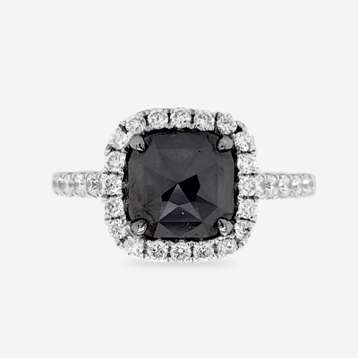18KT Black Diamond Halo Ring