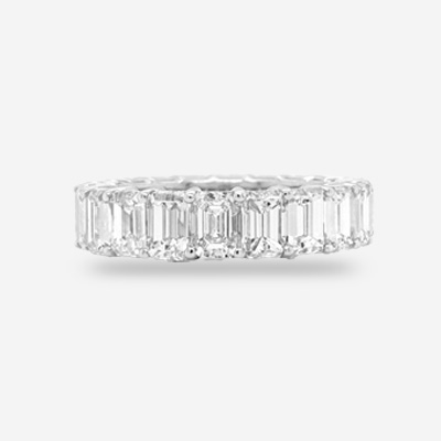 18KT Emerald Cut Eternity Band
