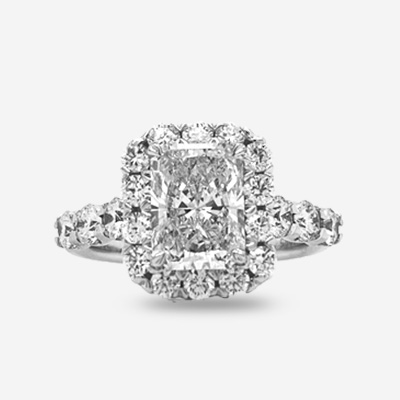 18KT Radiant Cut Halo Diamond Engagement Ring