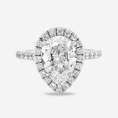 14KT Pear Shape Halo Diamond Engagement Ring