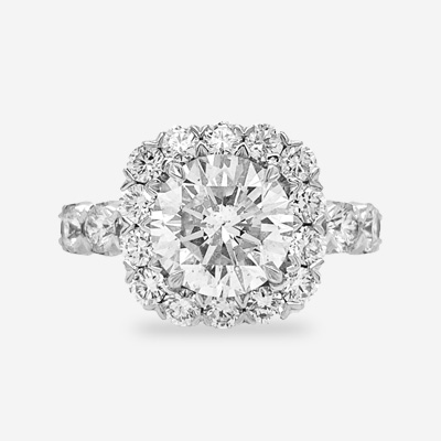 18KT Round Diamond Halo Engagement Ring