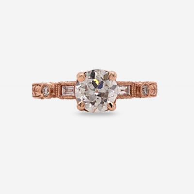 14KT Round Old Mine Cut Engagement Ring