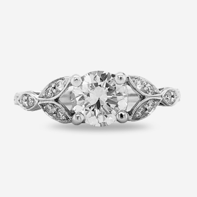 18KT Round Beaded Diamond Engagement Ring