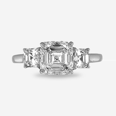 Platinum Asscher Cut Diamond Engagement Ring