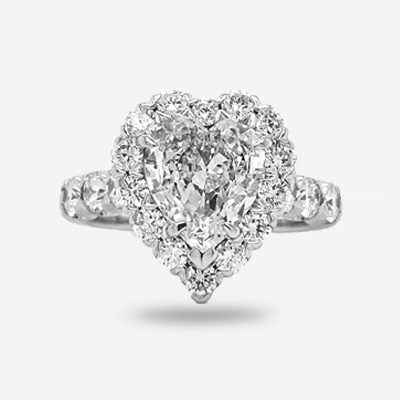 18KT Heart Shape Halo Engagement Ring