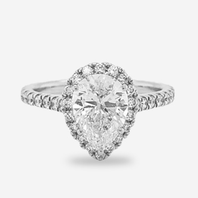 18KT Pear Shape Diamond Halo Engagement Ring