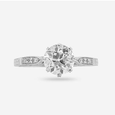 18K Euro Cut Diamond Engagement Ring