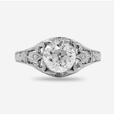 18k Old Mine Cut Diamond Engagement Ring