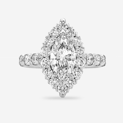 18KT Marquise Diamond Halo Engagement Ring