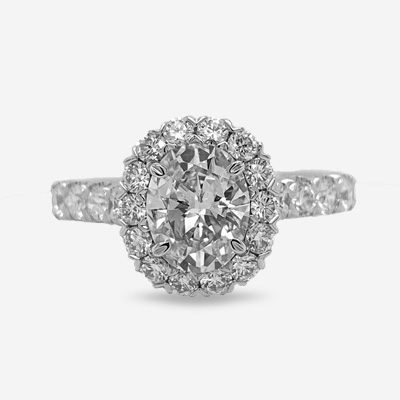 18KT Oval Diamond Engagement Ring
