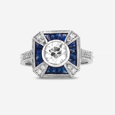 18KT EURO Sapphire Engagement Ring