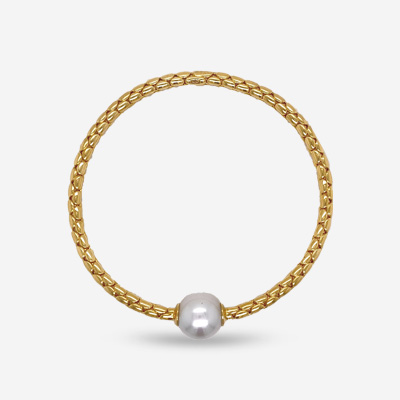 18KT Single Pearl Stretch Bracelet