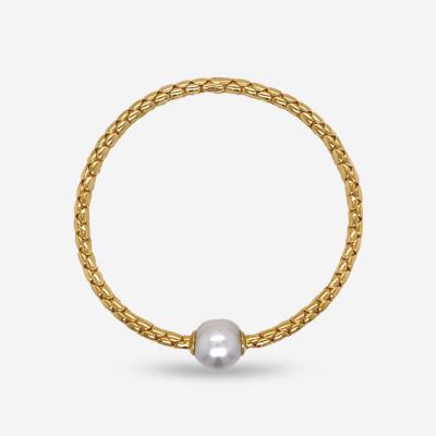 18KT Single Pearl Stretch Bracelet