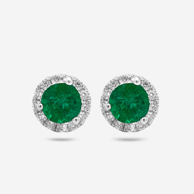 14KT Emerald and Diamond Halo Earrings
