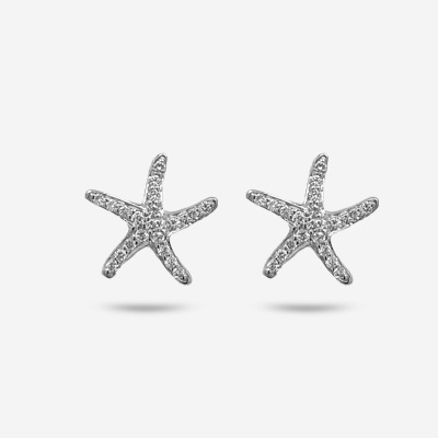 14KT Diamond Starfish Stud Earrings